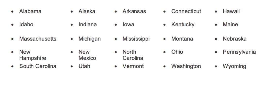 chart for states wo legislation